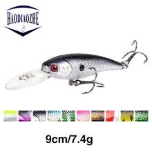 Купить с кэшбэком HAODIAOZHE Long Lips Minnow Fishing Lure 9.5cm 7.5g Black Artificial Hard Bait Japan Crank Baits Wobblers Fishing Tackle YU122