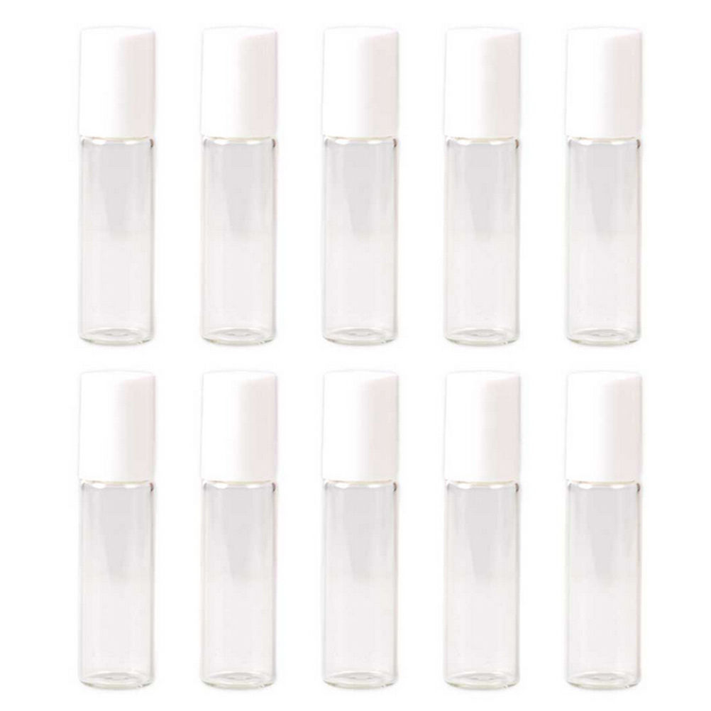 5 PCS 5ml/10ml Glass Roller Bottles Empty Clear With Roll On Empty Cosmetic Essential Oil Vial For Traveler With Glass Ball