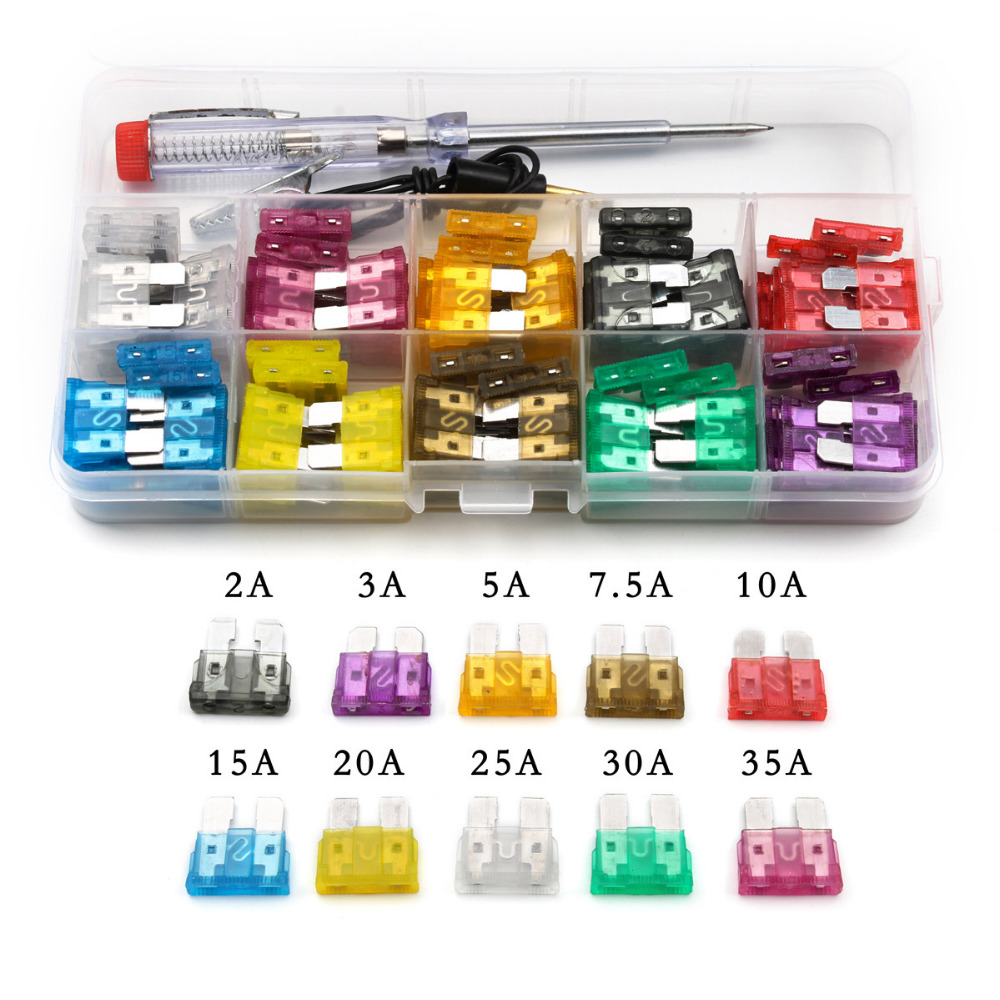 100pcs Assorted Auto Car Low Profile Medium Size Blade Fuses 2A/3A/5A/7.5A/10A/15A/20A/25A/30A/35A With Test Pen Plug Glass Fuse mini blade fuse assortment auto car motorcycle suv fuses kit apm atm 5a 10a 15a 20a 25a 30a 35a regular size blade