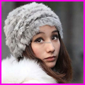 2014 New Fashion Womens Winter Warm 100% Real Rabbit Knitted Hats with Fur Causal Beanies Caps