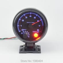 Аналоговый тахометр голубой подсветкой автоматический измерительный прибор функция предупреждения-стальной модель углеродного корпус 0 — 8000 об./мин. бесплатная доставка
