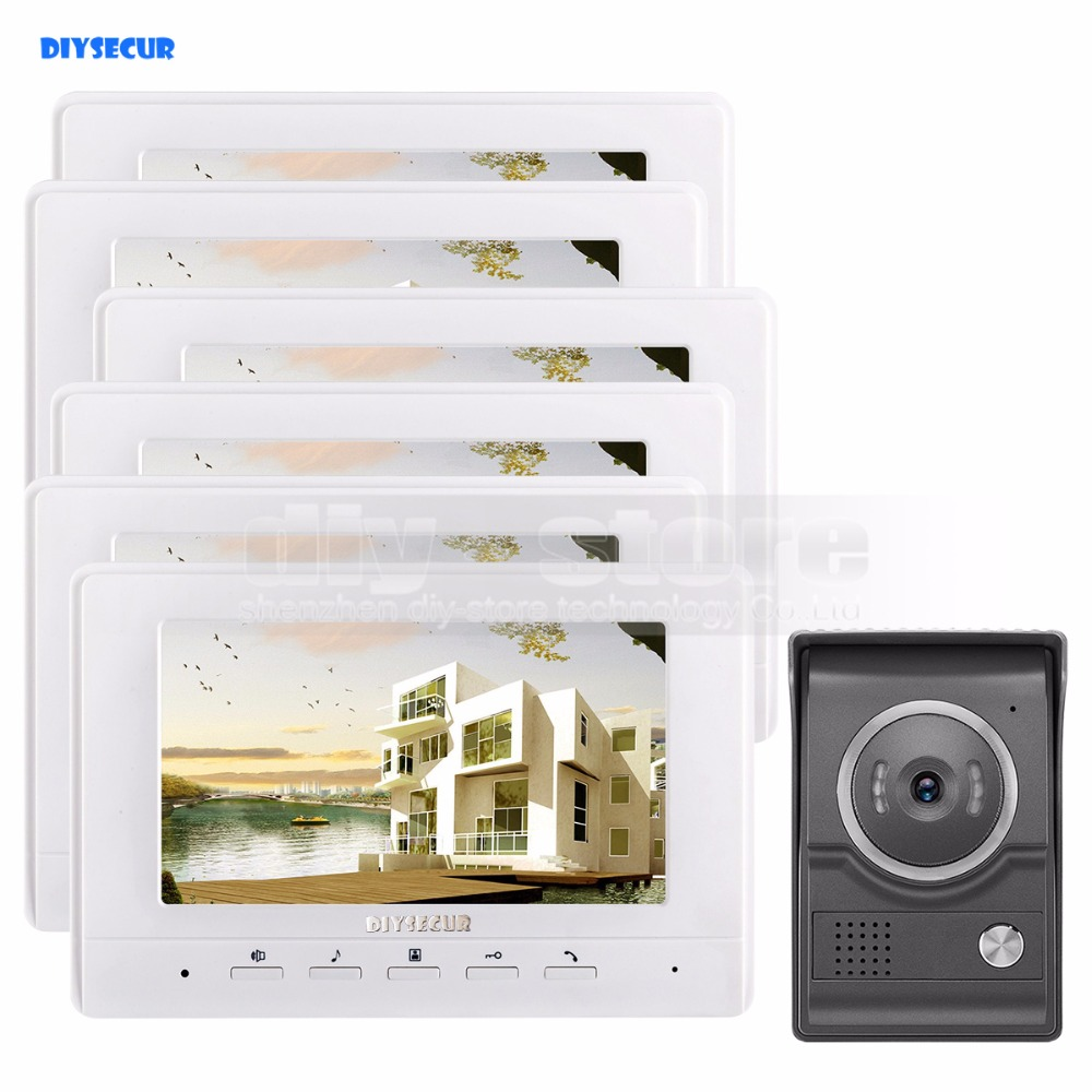 DIYSECUR 7inch Video Intercom Video Door Phone 700TV Line IR Night Vision HD Camera for Home Office Factory White 1V6 diysecur 7inch hd screen video door phone intercom hd outdoor unit camera night vision system 1 camera 1 monitor v70t f