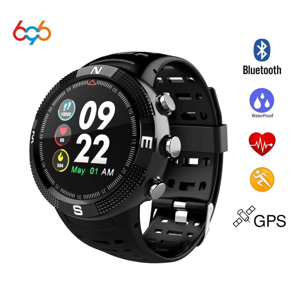 696 NUOVO F18 Smartwatch Astuto di GPS Della Vigilanza di Sport Della Fascia di Bluetooth 4.2 IP68 Impermeabile Chiamata Messaggio di Promemoria Pedometro Sonno Monitor