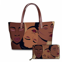 NOISYDESIGNS Females Top-Handle Bags for Women Black Art African Girls Printing 2pcs/set Handbags&Wallet Ladies Fashion Hand Bag
