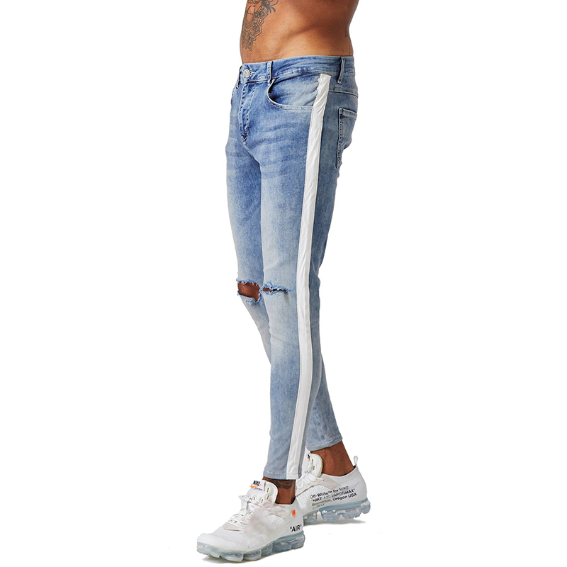 aa6a36a48e5 Gingtto Mens Skinny Jeans Ripped Jeans Lightweight Stretch Ankle Tight  Cotton Plus Size Faded Blue Ripped ...