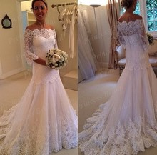 Free Shipping Fishtail Boat Neck Off The Shoulder Appliques Sweep Train Three Quarter Sleeve Wedding Dress