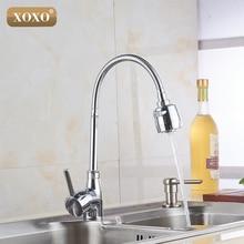 Xoxox Бесплатная доставка латунный Смеситель для кухни холодной и горячей кухонный кран на одно отверстие водопроводной воды torneira Cozinha 5522