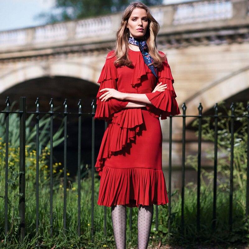 D'été Haute De Mousseline Ruches Bohème Robe Midi Femmes Rouge Vacances blanc Designer Élégant Piste En Soie Qualité 2019 Plage S7IXx