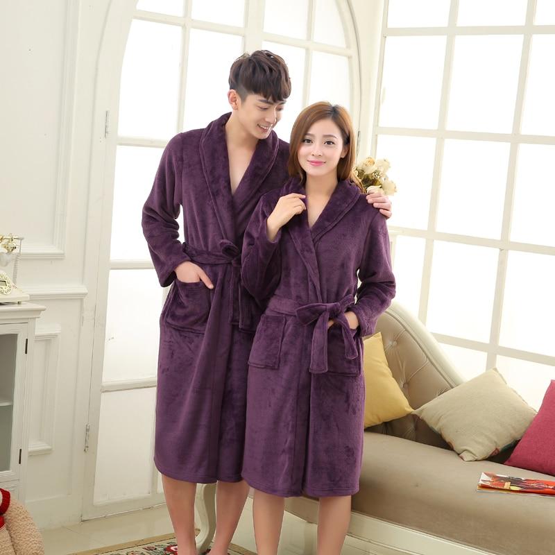 coral fleece luxury flannel bathrobe men long kimono robe lovers thick sleepwear roupao de banho peignoir - Mens Bathrobes
