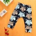 Calças Do Bebê moda Dos Desenhos Animados de Animais Lobo Impressões Meninos Calças Casuais Harem Pants 4-24 M de Inverno de Algodão Macio Elástico Roupas infantis
