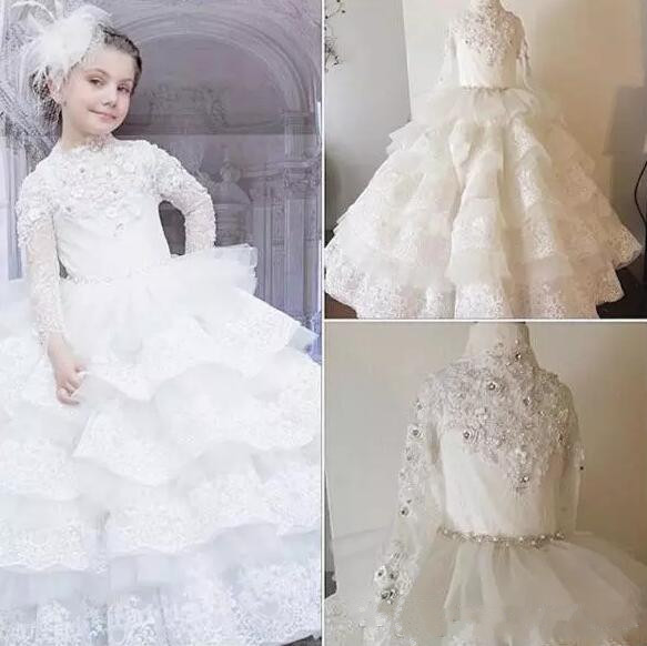 Luxurious Lace Crystals Layered Ball Gown Flower Girl Dresses Pageant Gown Beautiful Girls Birthday Dresses Christmas DressLuxurious Lace Crystals Layered Ball Gown Flower Girl Dresses Pageant Gown Beautiful Girls Birthday Dresses Christmas Dress