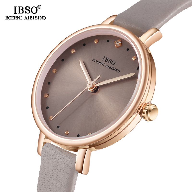 IBSO Simple Crystal Rhinestone Women Quartz Watches Genuine Leather Strap Ladies Watches Hours Women Waterproof Montre Femme