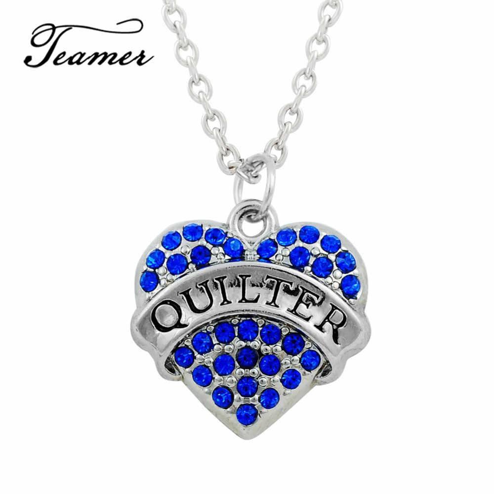 Teamer בהשראת Quilter מכתב פייב לב תליון שרשרת כחול קריסטל Rhinestones קישור שרשרת שרשרת עבור Womem גברים מתנות