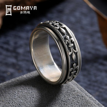GOMAYA Men Women Ring Fine Jewelry Real 925 Sterling Silver Carving Flower Man Joint Ring Jewelry Gift Wholesale Bague