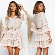 Women Ruffle Layered V-Neck Dresses Casual High Waist Flare Sleeve A-Line Dress 2019 Summer Fashion Vintage Printed Dresses