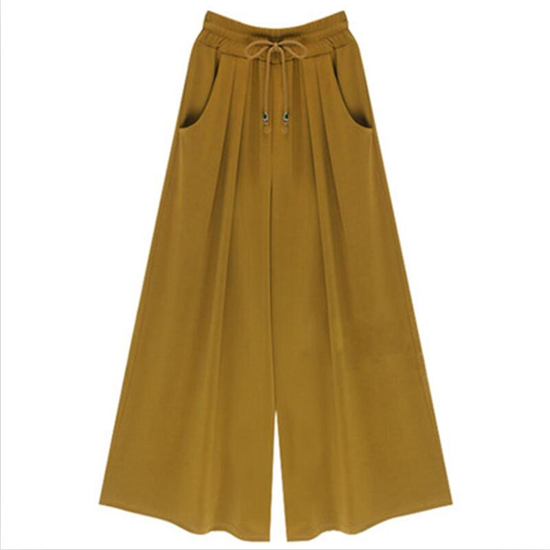 2019 High Street New Women Solid   Pants   Sweet Girl High Waist Casual Loose   Pants   3Color   Wide     Leg     Pants