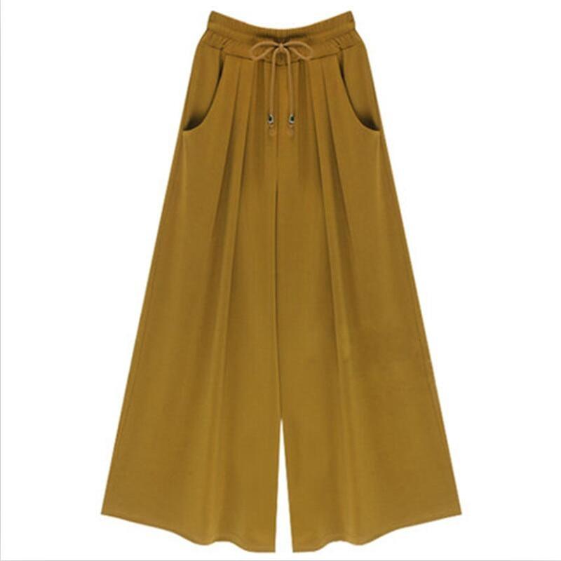 Pantalones ginger Mujeres De 3 2019 Alta Chica azul A Pierna Color Cintura Nueva Negro La Calle Dulce Ancha Yellow Cielo UqBUCwX1x