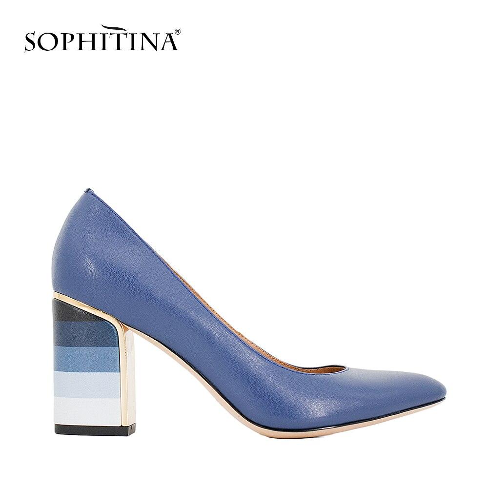 SOPHITINA 2018 Offre Spéciale Pompes Coloré Carré Haute Talon Foncé Bleu en peau de Mouton de Haute Qualité Bout Rond Pompes Chaussures Élégantes Femmes W10