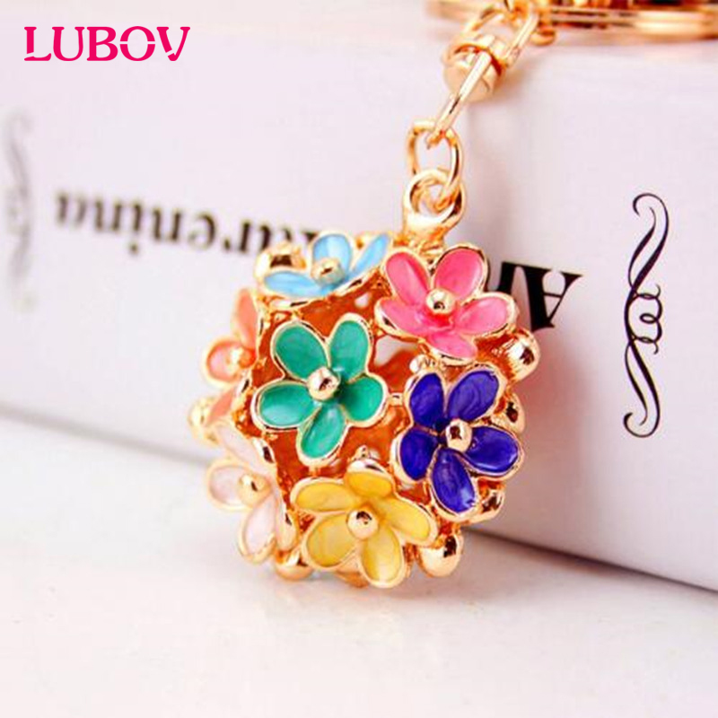 9 Colors Flower Pendant Metal Key Ring Exquisite Handbag Keychain Fashion Car Key Chain Holder Accessories for Women Gift