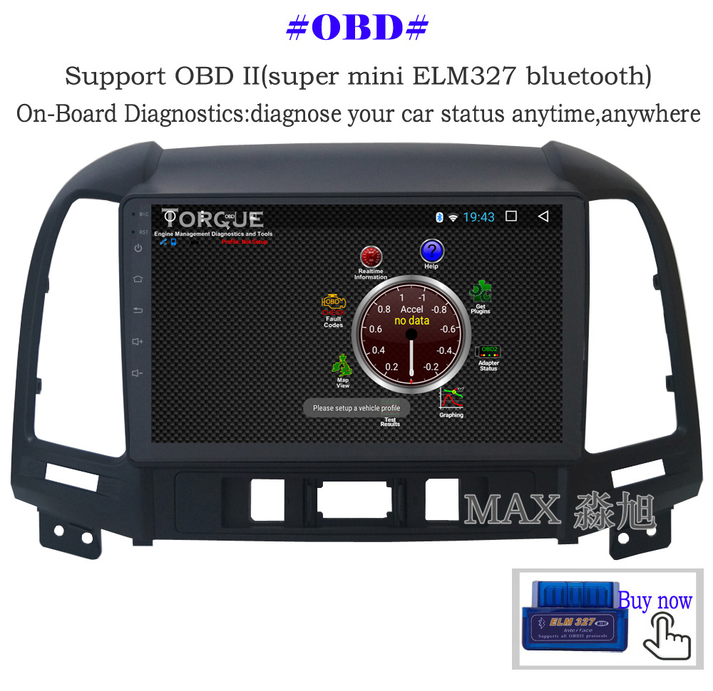 Discount MAX Android 8.1 2G 32G 8 Core Car DVD Player for Hyundai santa fe 3/4holes with 2.5D+IPS Screen car stereo radio RDS Maps swc 12