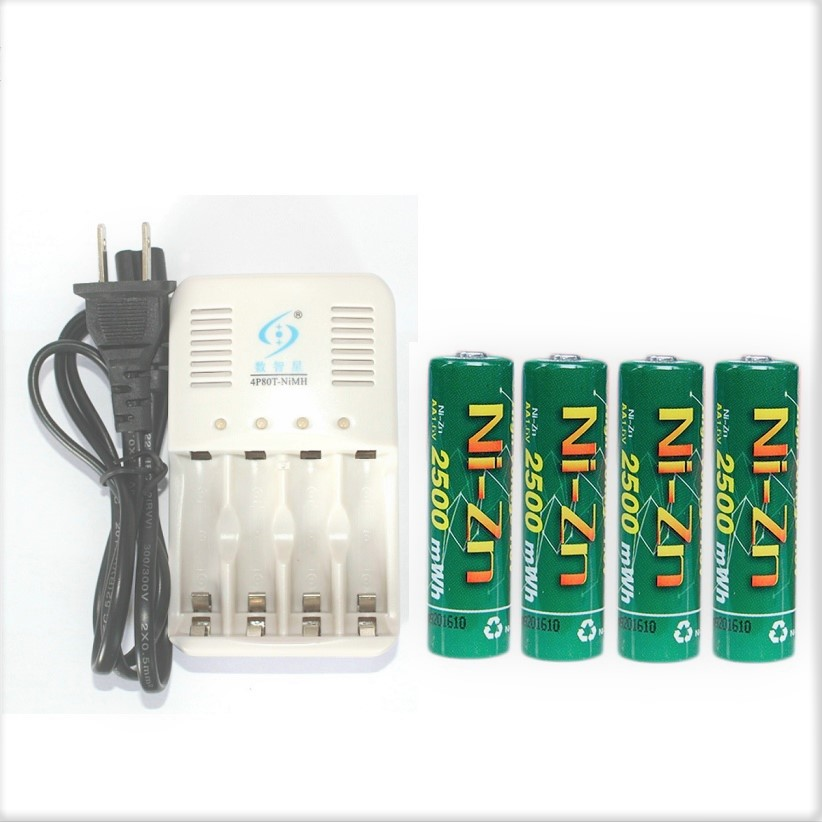 4Pcs NiZn Ni Zn 1 6V AA 2500mWh Rechargeable Battery NiZn smart Charger Much Powerful and