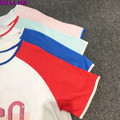 HZLLHX cream casual women summer t-shirt Holiday style cotton short sleeve colorful matching round collar printed women kids top