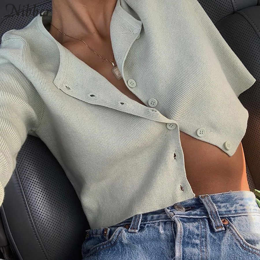 Nibber autumn Solid basic knit full sleeve bottoming shirt women 2019fashion Harajuku girls Single-breasted casual top tee shirt
