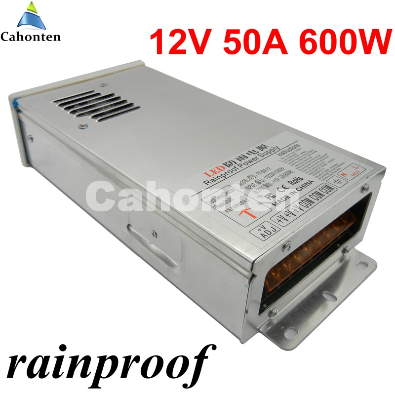 Rainproof switching power supply output DC 12V 50A 600W Led Driver Transformer for led strip lamp CNC CCTV outdoor led driver transformer waterproof outdoor switching power supply ip67 adapter ac170 260v to 5v 12v 24v 36v 30w led strip lamp
