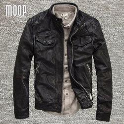 Brown black genuine leather jacket coat men 100 lambskin motorcycle jackets chaqueta moto hombre veste cuir.jpg 250x250
