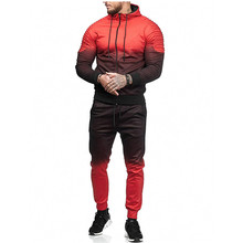 Litthing רוכסן אימונית גברים סט ספורט 2 חתיכות טרנינג Mens בגדים מודפס סלעית נים Jacket & מכנסיים אימונית גברים