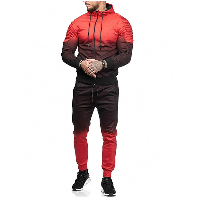 Litthing Zipper Tracksuit Men Set Sport 2 Pieces Sweatsuit Mens Clothes Printed Hooded Hoodies Jacket & Pants Track Suit Men