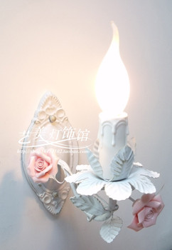 Modern  Hot Sell Candle Rustic Lamp Princess ceramic Rose Flowers  Wall Lamp