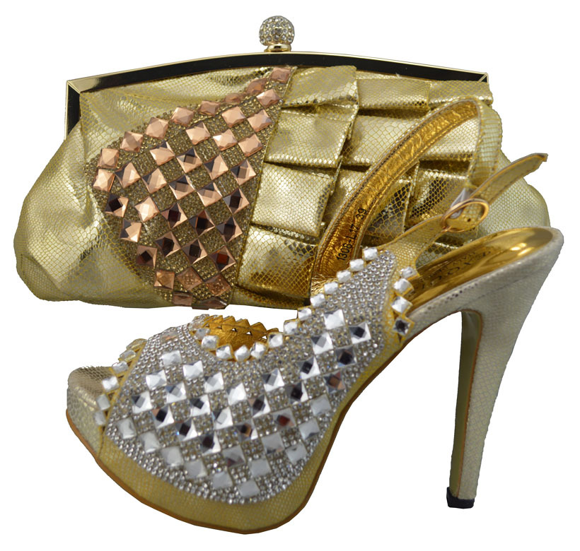 African Woman Italian Matching Shoes And Bags Set Party Dress Shoe Bag With Rhinestone 1308 L17 Peach Color In Women S Pumps From On