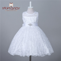 New Princess Girls Summer Dress Wedding Birthday Party Kids Tutu Dress With Bow Sleeveless Lace Dress