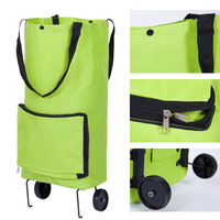 Daily Shopping Convenient Women Lady Foldable Tugboat Shopping Trailer Bag Solid Color Shopping Bag With Double