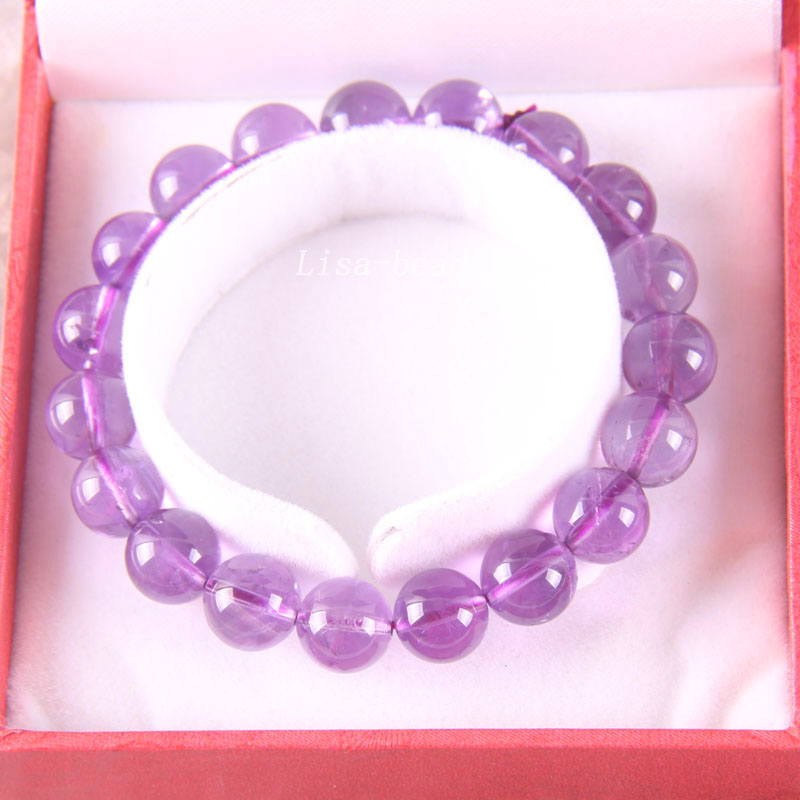 Free Shipping Fine Jewelry Stretch Purple 10MM Round Beads 100% Natural AA Purple Crystal Bracelet 8 with Box 1Pcs J018 free shipping fine jewelry stretch red round beads 9mm aa 100