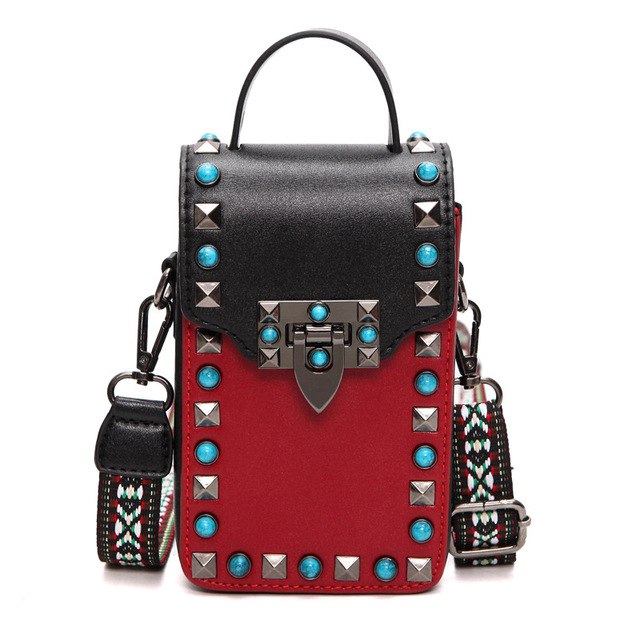 Women Lady Casual Tote Rivet Turquoise Designer Pu Leather Handbags Shoulder Bags Messenger Mobile Phone Bag