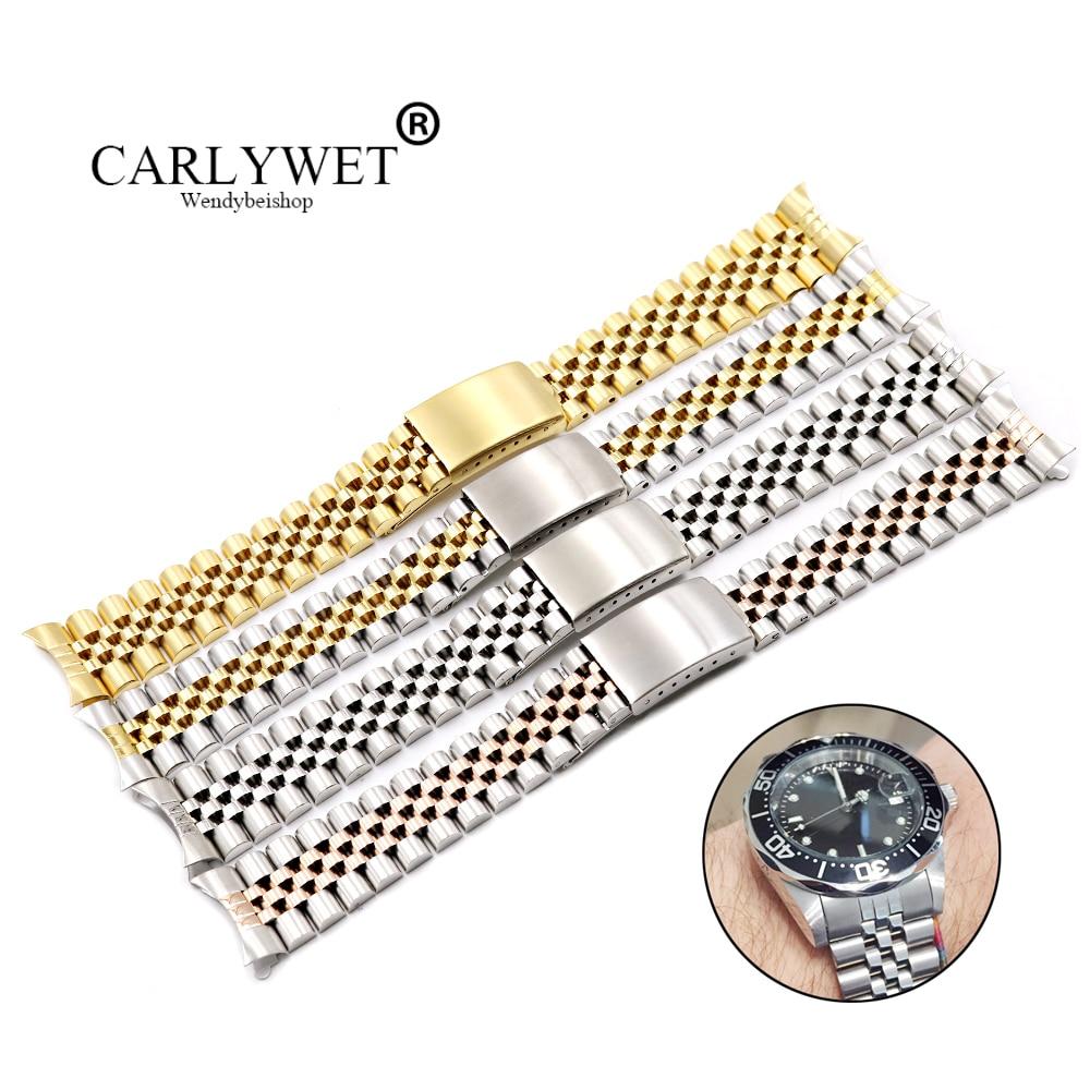 Carlywet 19 20 22mm dois tons oco curvo final sólido parafuso links substituição pulseira de relógio faixa estilo antigo jubileu pulseira