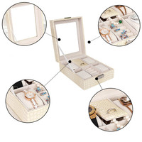 Multifunctional 4 Grids Watch Box Jewelry Organizer Jewelry Cases Rings Necklaces Showcases
