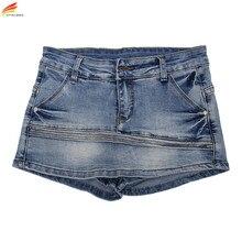 Women Skort Shorts 2017 Summer Fashion Style Sexy Ladies Shorts Skirt Plus Size Mini Skorts Female Blue Color Womens Short Jeans