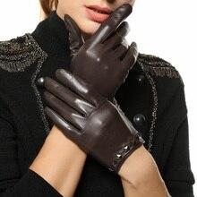 fashion women leather gloves wrist rivet Genuine warm winter lady sheepskin black