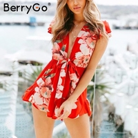 BerryGo Deep V Neck Boho Women Jumpsuit Romper Casual Ruffle Sleeve Summer Short Overalls Streetwear Beach