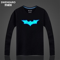 SWENEARO Black Batman Shirt Men/women Autumn Mens Tee Shirt XXL 100% Cotton T-shirt For Men Hipster Tshirt Men Can Glow in Dark