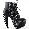 LF80621 Cool Thunder & Lightning Print Lace-Up Bone Heel Ankle Boots