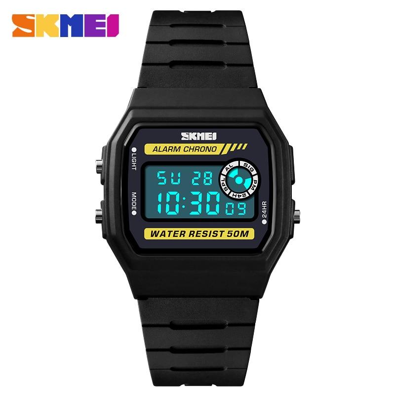 Square Date LED Digital Women Sports Watch EL Back Chrono Wristwatch Waterproof