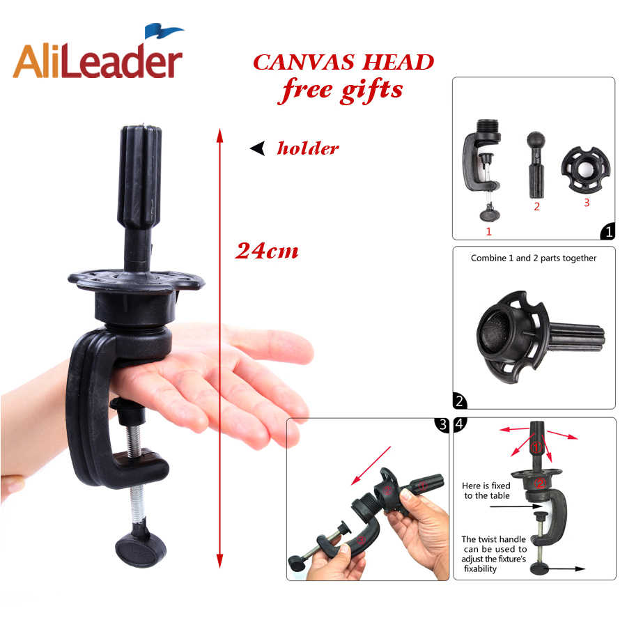 Alileader 21-25 Canvas Block Head Manequin Head Wig Stand For Styling Display Making Wigs With Table Clamp/Pins Wig Making Tools