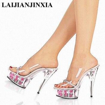 LAIJIANJINXIA Sexy Women's 15CM High Heels Flowers Platform Open Toe Romantic Sexy Sandals Dancing Shoes Pole Dance Shoes