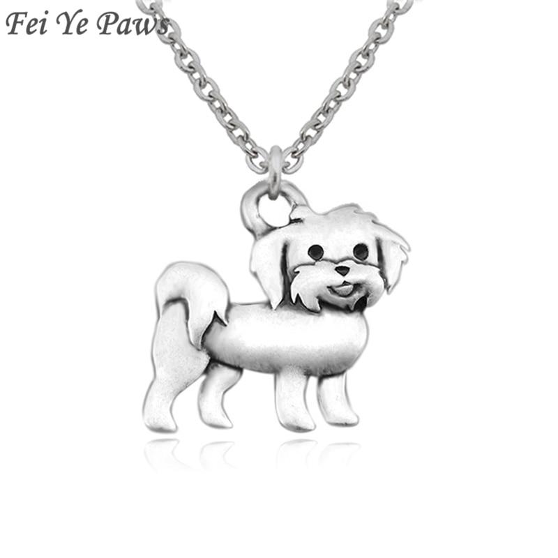რთველი ვერცხლისფერი Boho Maltese Dog ხიბლი გულსაკიდი გულსაკიდი ყელსაბამი გრძელი უჟანგავი ფოლადის ჯაჭვი ქალთა მამაკაცთა სამკაულები საჩუქარი გოთური