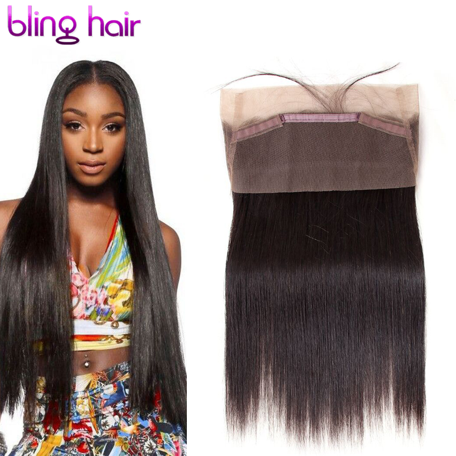 Bling Hair Brazilian Straight Hair 360 Lace Frontal Closure With Baby Hair 100% Human Hair Free Part No Shedding Free Shipping