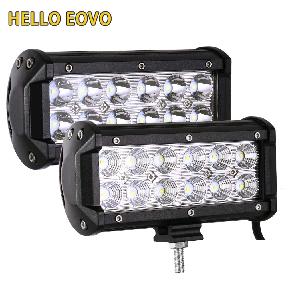 HELLO EOVO 2pcs 7 Inch 36W LED Work Light Bar for Indicators Motorcycle Driving Offroad Boat Car Tractor Truck 4x4 SUV ATV 12V 1pc 18w led work light for motorcycle driving boat car tractor truck suv 6 inch flood lights